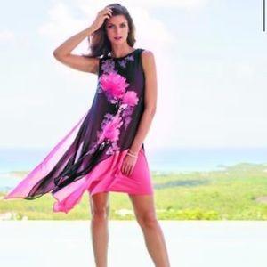 Frank Lyman Size 8 Black & Coral Floral Print Dress